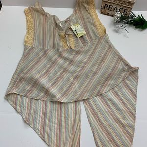 NWT Free People Whimsical Open Back Flowing Tank L